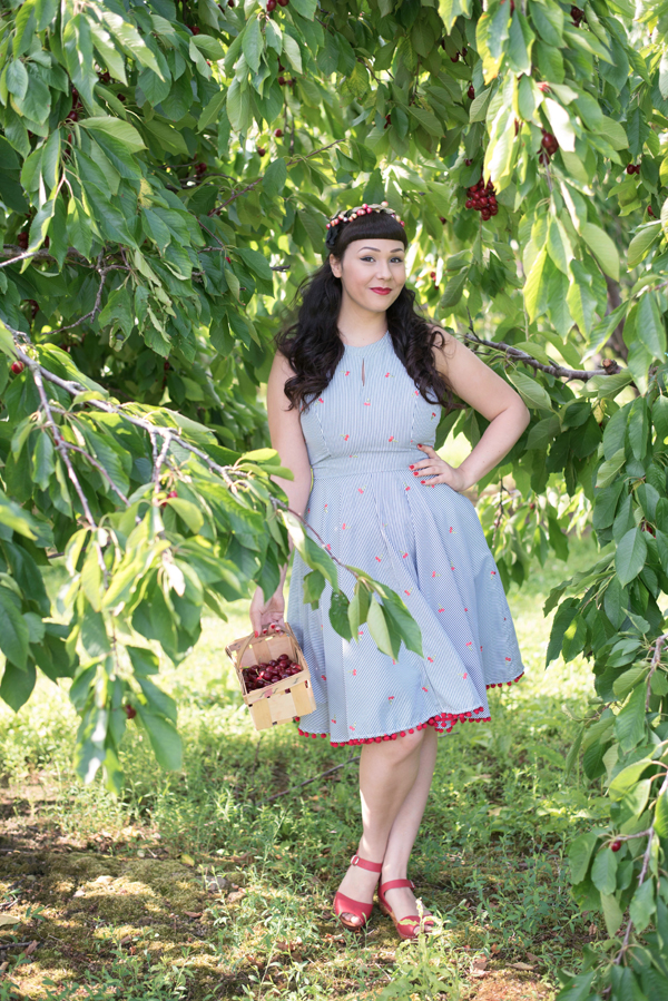 embroidered cherry dress