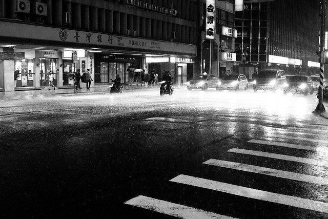 downpour at night