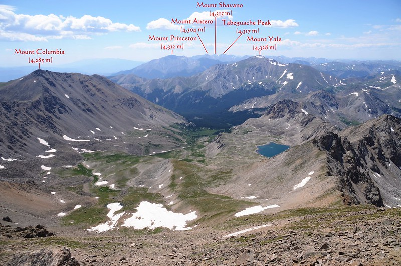 Looking south at mountains from Mount Harvard's summit
