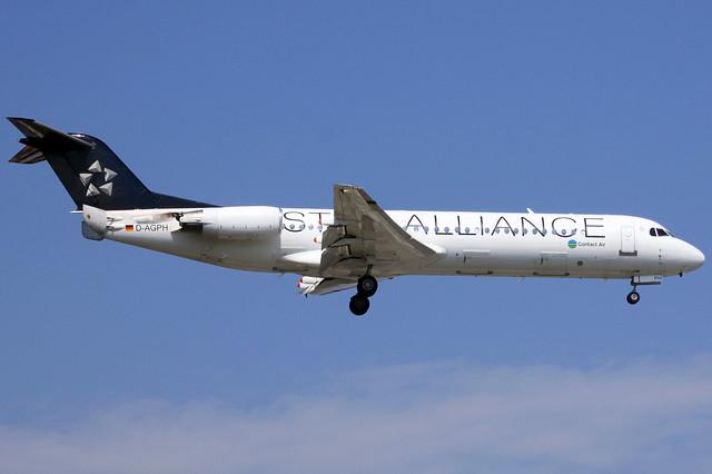 Lufthansa Regional - Contact Air F-100 D-AGPH landing WAW/EPWA