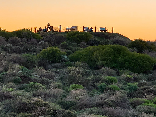 sunset kalbarri people lookout westernaustralia vegetation bushes seashore hill silhouette shadows uphigh australia