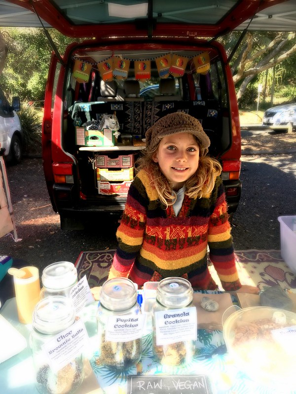 DB serving at the Blissfully Belle stall. Yamba Farmer's Market.