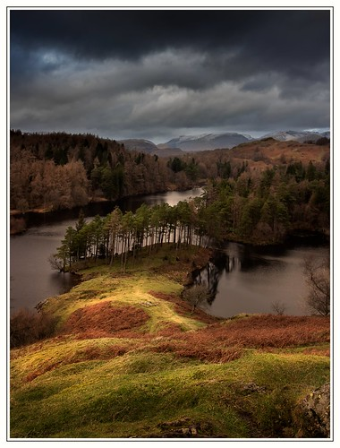 unitedkingdom cumbria thelakedistrict thelakes nature clouds cloudy moody mountains snow sunlight trees water pond nationaltrust canon eos6dmkii tarnhows outdoors fells woods autumn landscape weather light sky outside