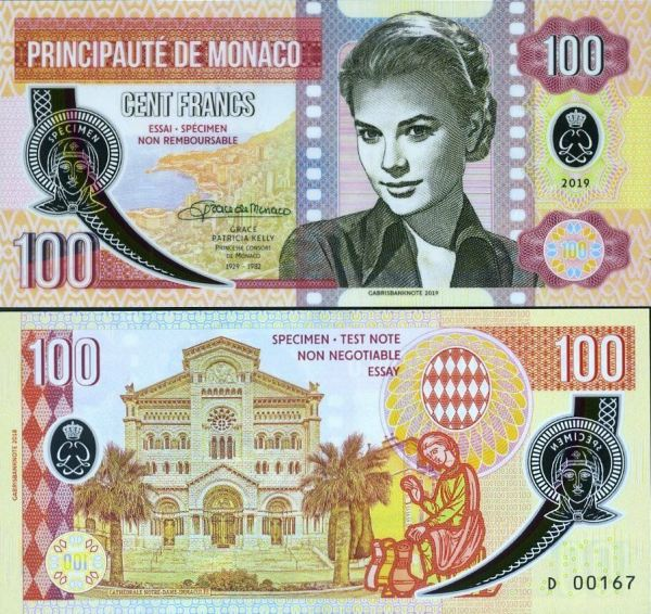 MONACO 100 Francs 2019 Grace Kelly UNC, polymer