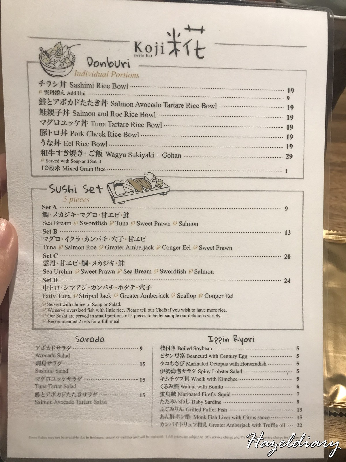 Koji Sushi Bar-Raffles City Shopping Mall-Menu