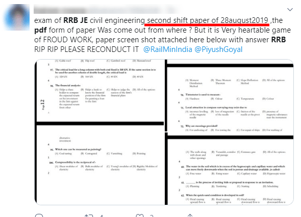 RRB JE CBT 2 Paper Leak: Questions PDF, videos, images shared in social media; This is what happened