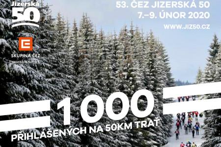 Jizerská 50 hlásí další milník, 50km trať 1000 přihlášených, zlom bude v září
