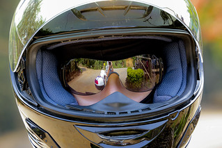 A girl in a motorcycle helmet and mirrored glasses, which reflects the photographer   AD4A3237bs