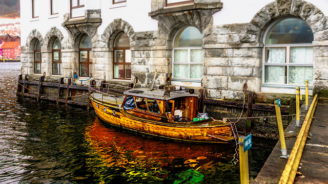 A classic wooden boat in Bergen harbor, Norway-15a