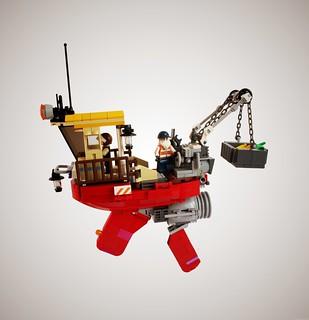 Happy flying tugboat
