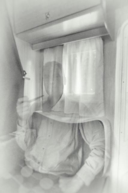 Self portrait, pinhole photography.