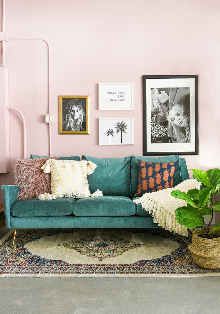 Vanilla Loft | Pink and Green Modern Living Room Inspiration | 20 Photos That Will Prove Decorating with Pink and Green is the Next Big Thing