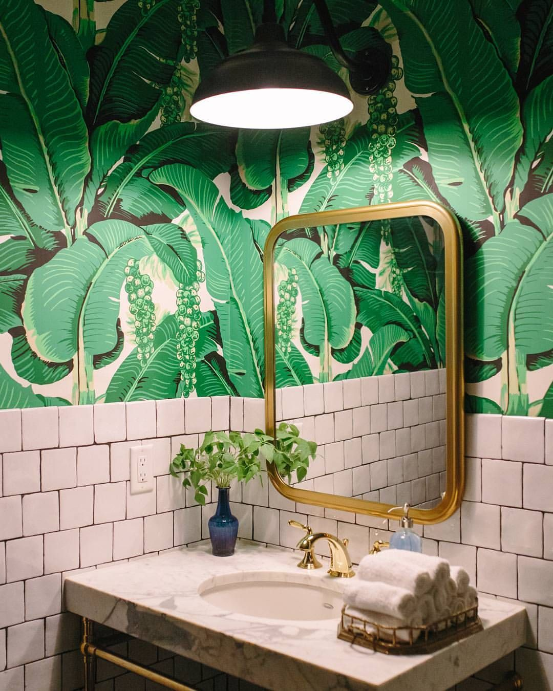 Palm Print Wallpaper Bathroom | Pink and Green Bathroom Inspiration | 20 Photos That Will Prove Decorating with Pink and Green is the Next Big Thing