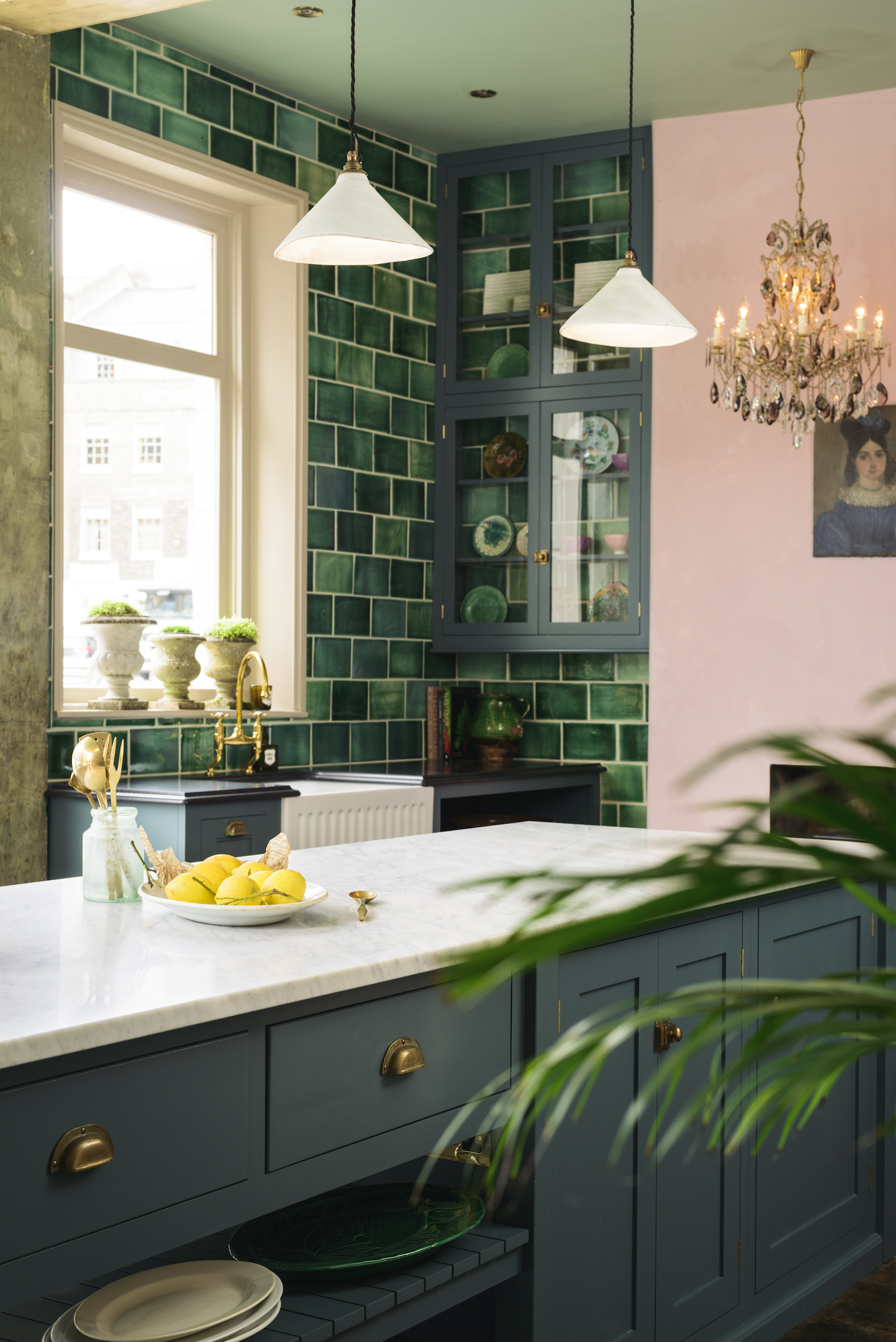 Green Tile Pink Kitchen   Devols Kitchen Showroom Clerkenwell London   20 Photos That Will Prove Decorating with Pink and Green is the Next Big Thing