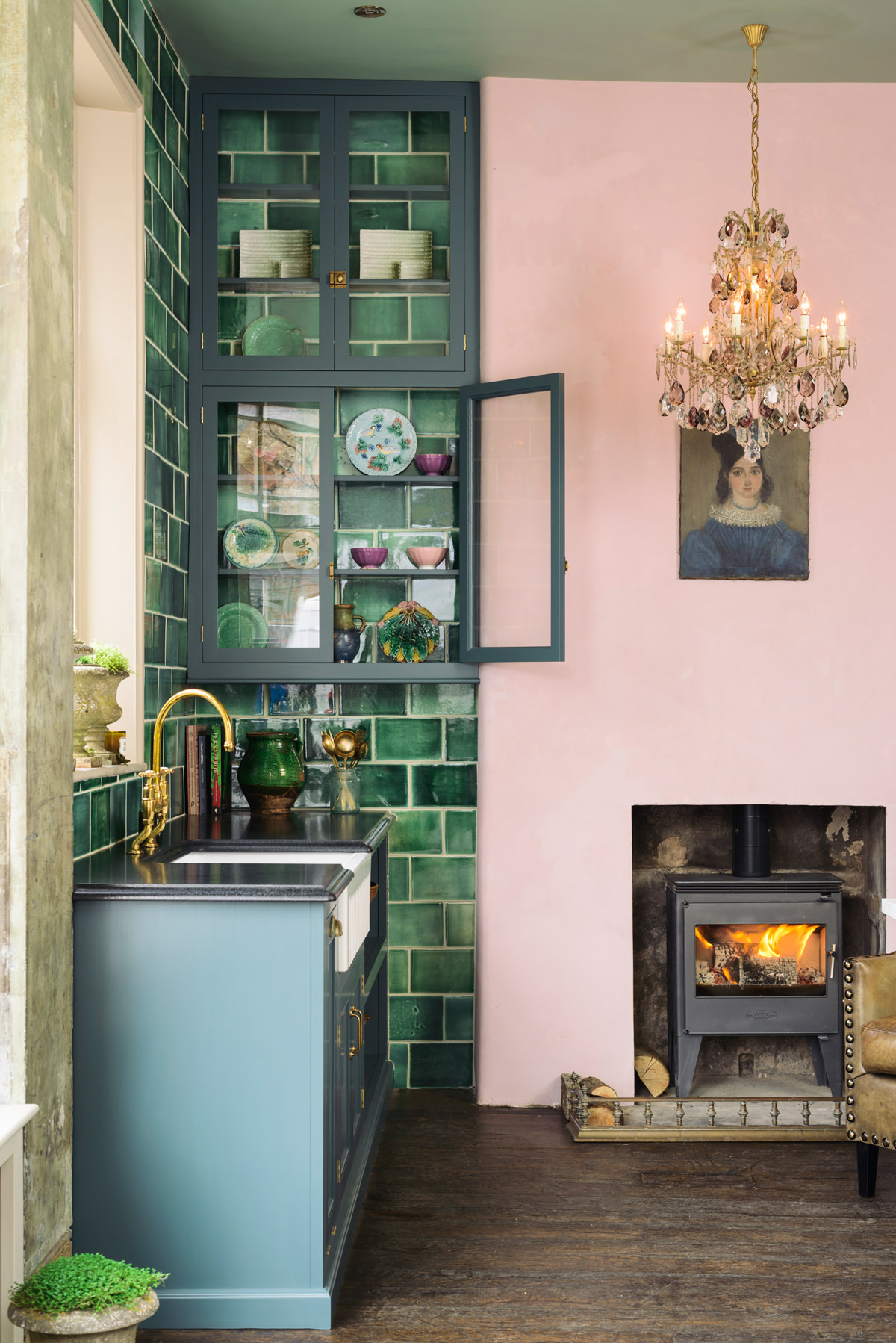 Green Tile Pink Kitchen | Devols Kitchen Showroom Clerkenwell London | 20 Photos That Will Prove Decorating with Pink and Green is the Next Big Thing