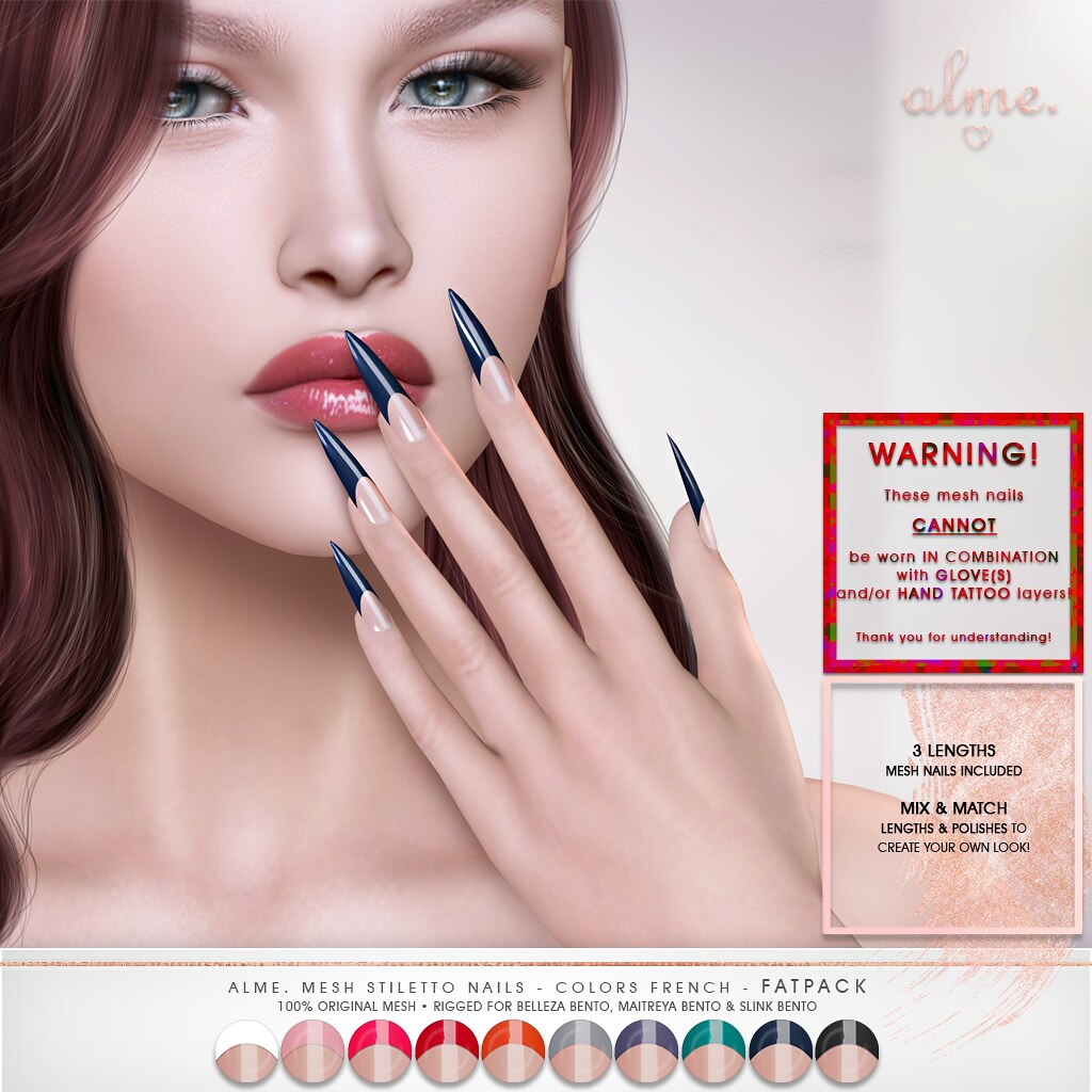 "Alme for Shiny Shabby- ""Alme Mesh Stiletto nails//Colors French"" ♥"