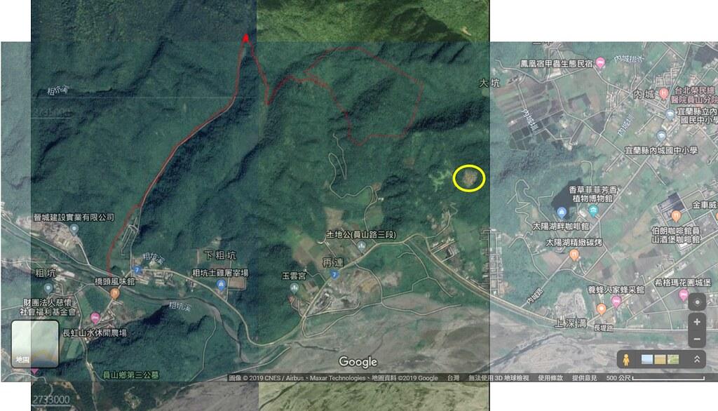 圖中紅線處為本次申請核定礦區,黃圈處為舊礦區。擷取自環評書件與Google Map