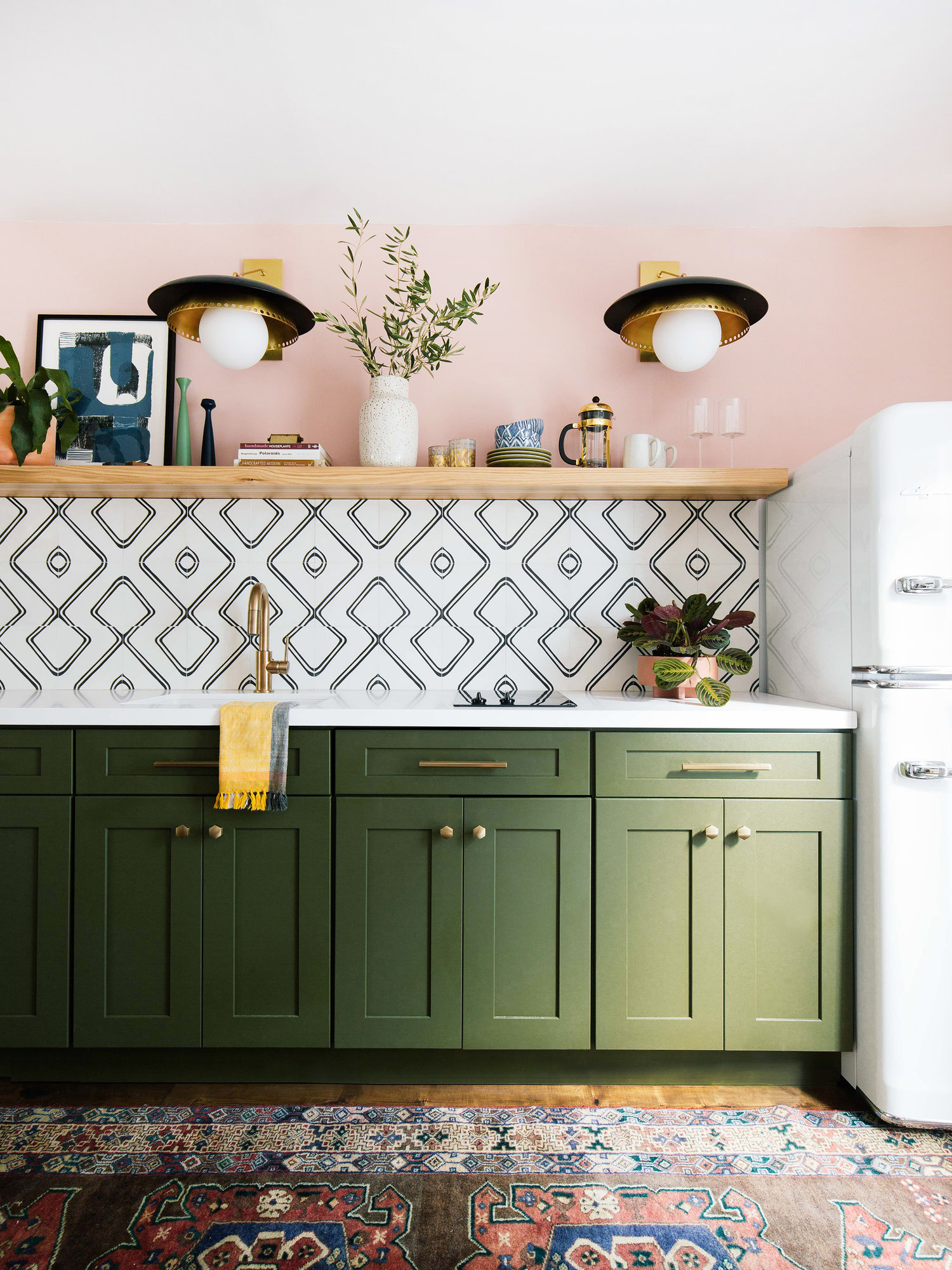 Green Pink Kitchen | Old Brand New Blog Guesthouse Kitchen | 20 Photos That Will Prove Decorating with Pink and Green is the Next Big Thing