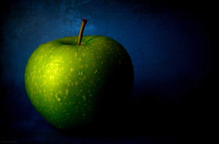 Green Apple on Blue