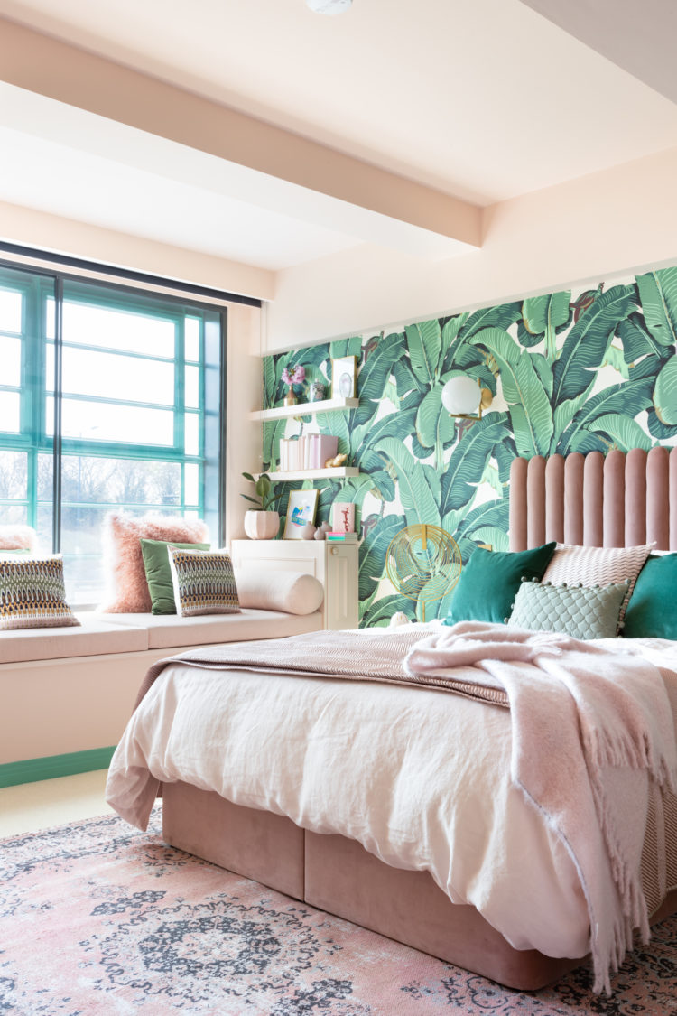 Palm Print Wallpaper Pink Velvet Bed | Pink and Green Bedroom Inspiration | 20 Photos That Will Prove Decorating with Pink and Green is the Next Big Thing
