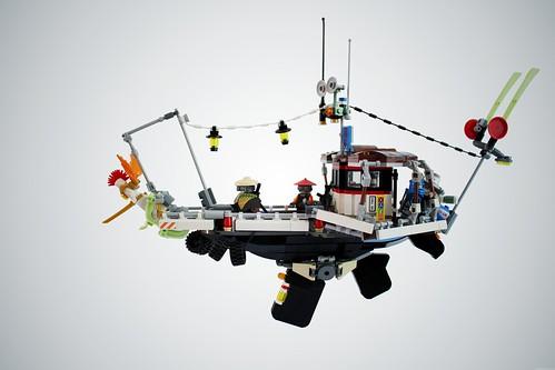 Cyberpunk ninja flying boat