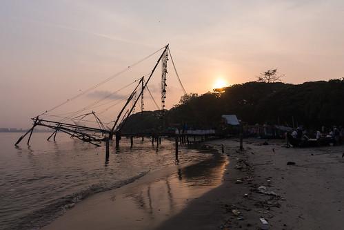 india kerala kochi fishing sunrise