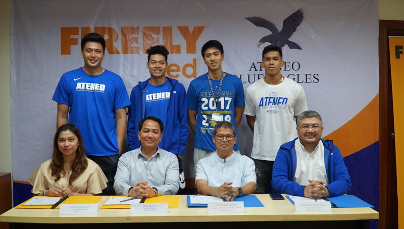 Ateneo Blue Eagles with FELCO Assistand Brand Manager Christine Reyes, Marketing Director Erik Riola and ADMU University Athletics' Fr. Nemesio S. Que SJ and Emmanuel T. Fernandez