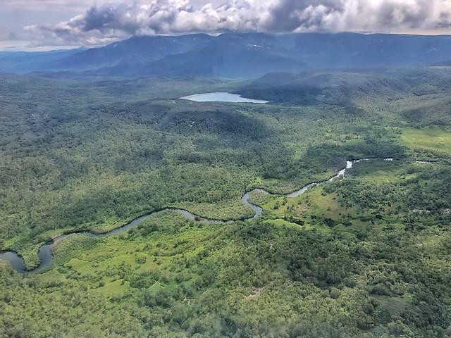 Vista aérea de los paisajes salvajes de Kamchatka