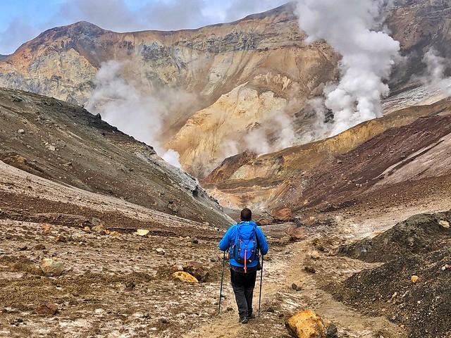 Sele en el cráter del volcán Mutnovsky de Kamchatka