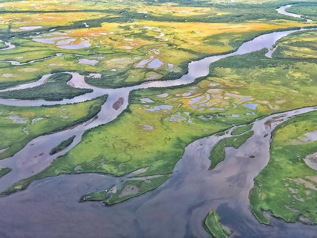 Vista aérea de Kamchatka (delta del río Avacha)