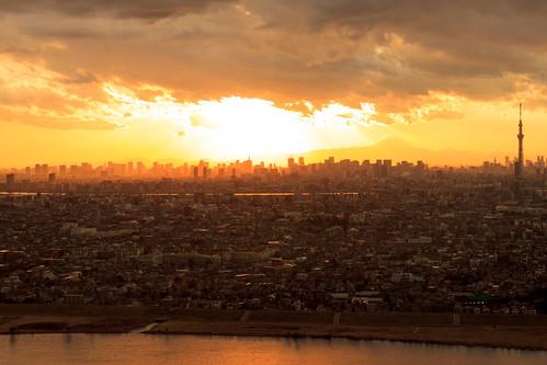 Tokyo sunset cityscape