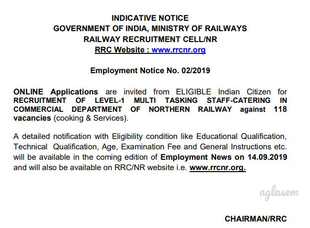 One More Railway Recruitment - RRC Northern Railways Notify 118 MTS Vacancies