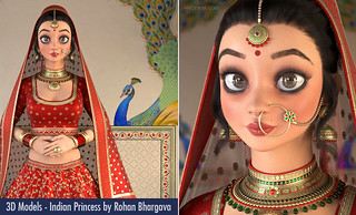 3D Model Designs - Beautiful Indian Princess on Peacock Palace by Rohan Bhargava
