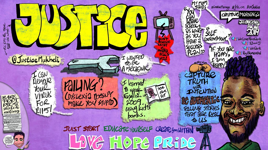 "My #sketchnote of #CreativeMornings — 2019 August — @JusticeMukheli — ""Justice"" @WeLoveNiceWork @10and5 @WeWork"