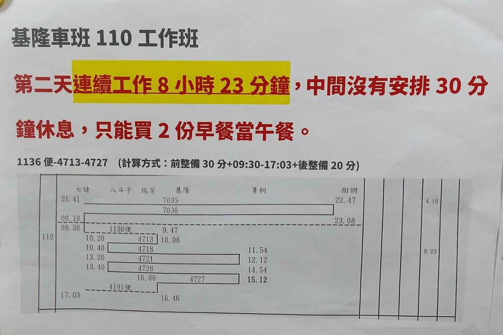 基隆車班110工作班班表。(攝影:張智琦)