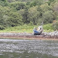 Ex fishing boat ashore on Loch Creran