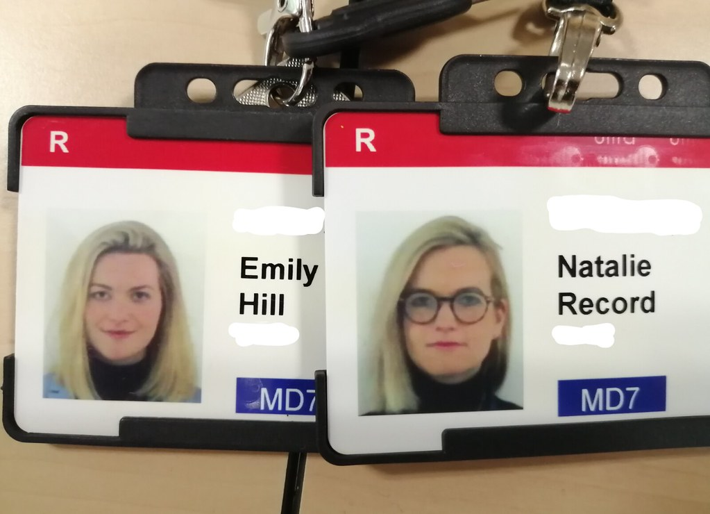 Natalie and Emily's work ID images - they look identical!