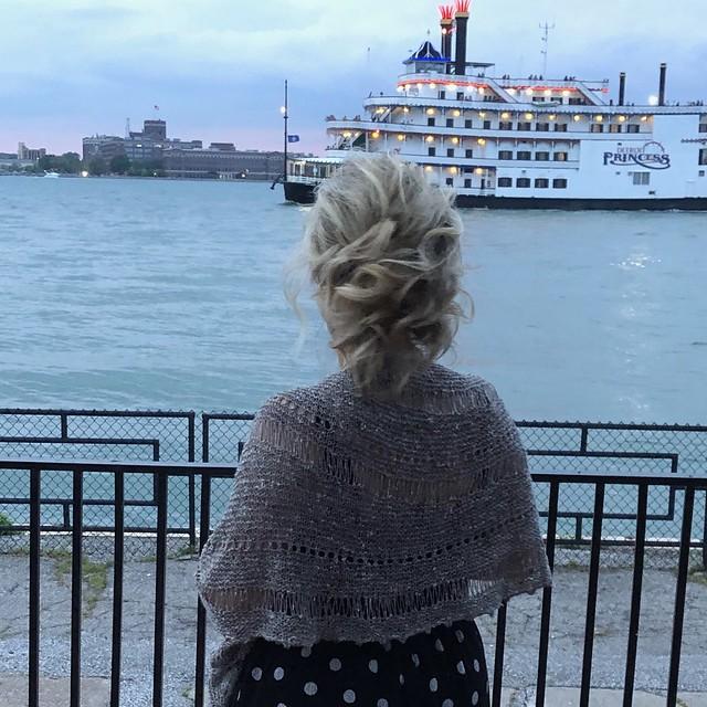 Rita's beautiful Storm shawl by Joji knit using BC Garn's Tussah Tweed