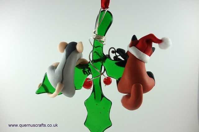 Little Santa Fox and Wee Lily on Glass Holly