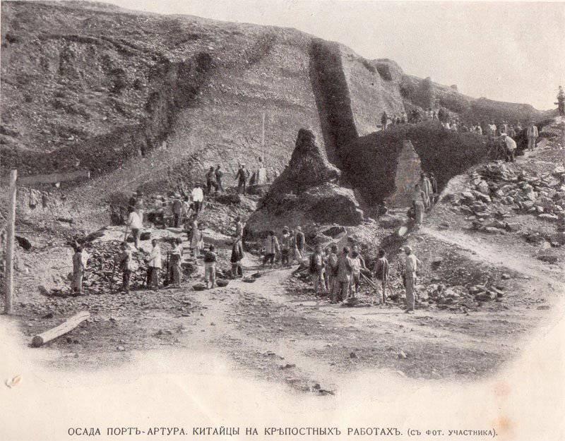 Китайцы на строительстве укреплений в Порт-Артуре