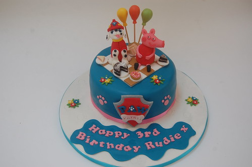 Enjoyable Paw Patrol And Peppa Pig Cake Beautiful Birthday Cakes Funny Birthday Cards Online Fluifree Goldxyz