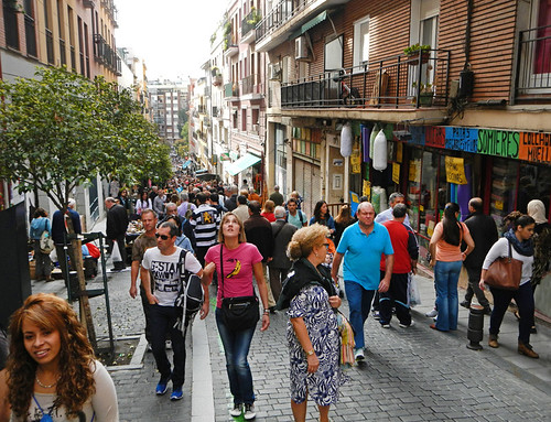 A busy street in Madrid, Spain