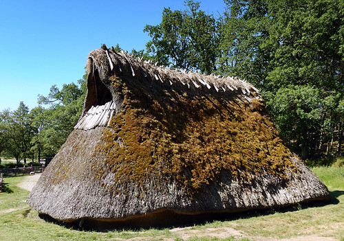 Thatched roof in a recreation of a Bronze Age village in Tanum, Sweden