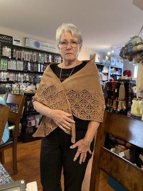 A lovely lacy shawl knit by Trina