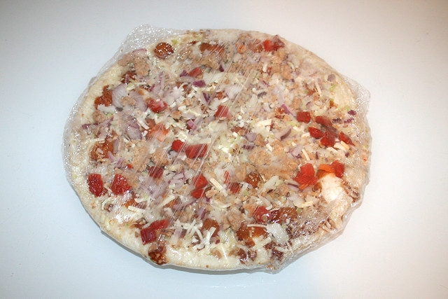 03 - Papa Joe's Steinofen Pizza  - Pulled Pork Style - eingepackt / wrapped