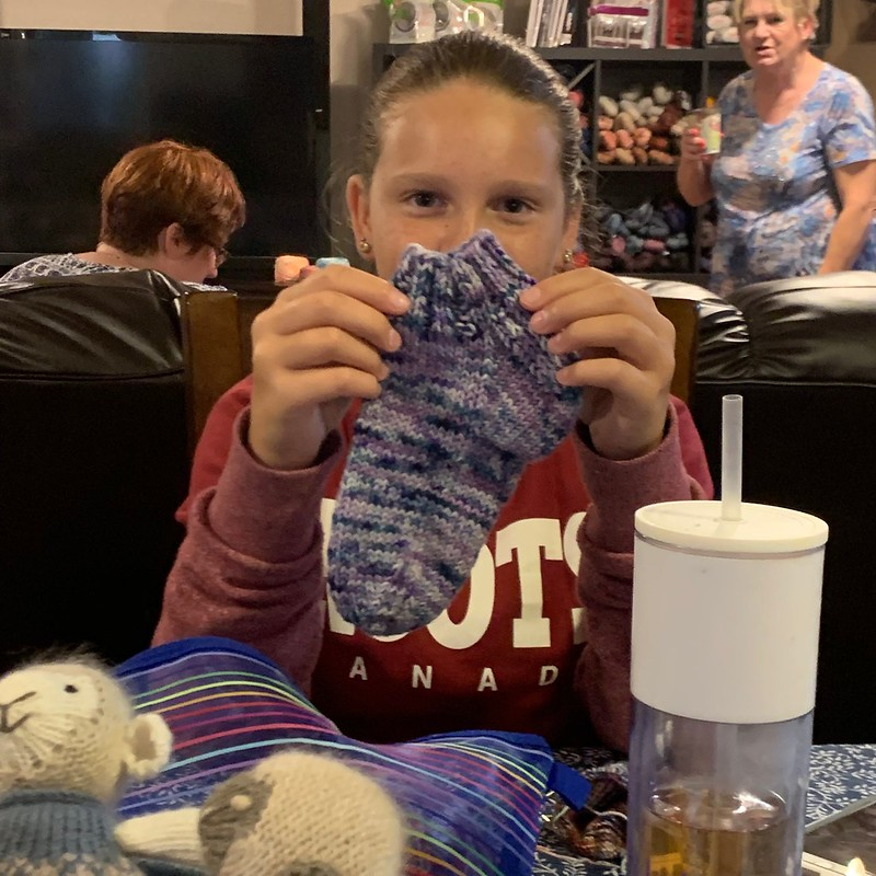 Look at Brooklyn's finished sock...and to think she just turned 13!!