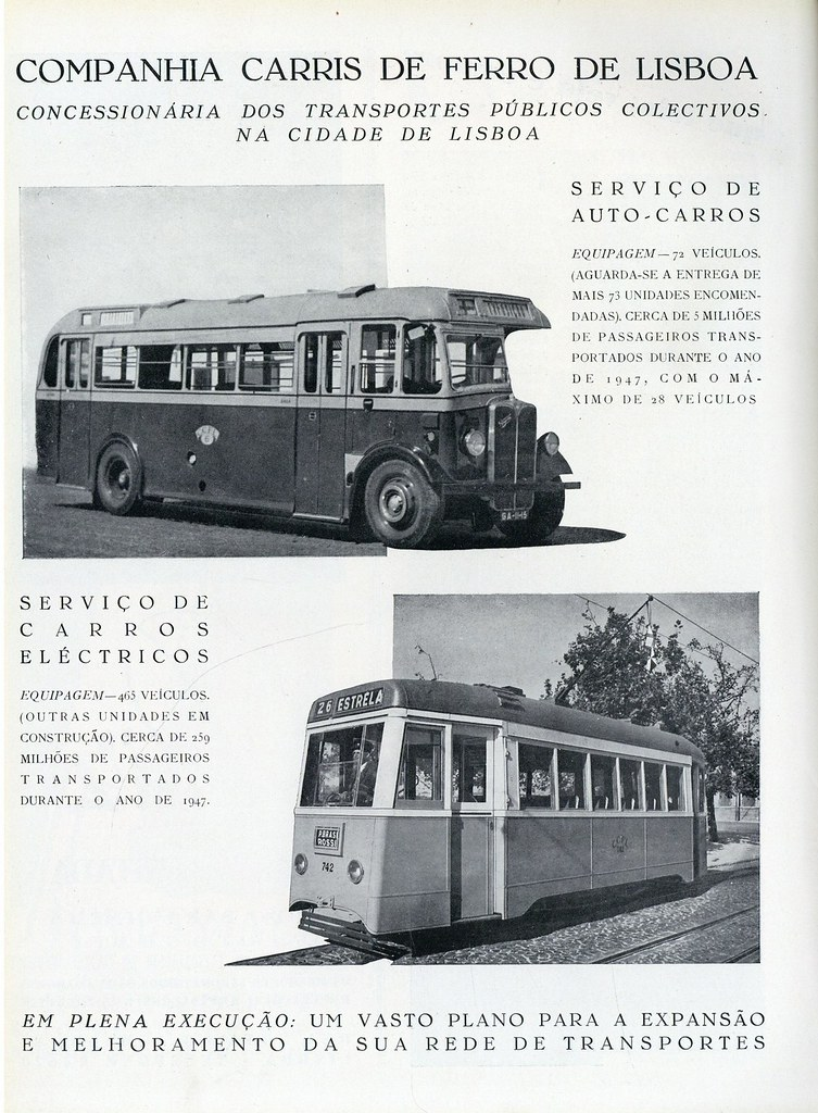 Companhia Carris de Ferro de Lisboa — Serviço de auto-carros; serviço de carros eléctricos (in Panorama, n.º 35, 1948)