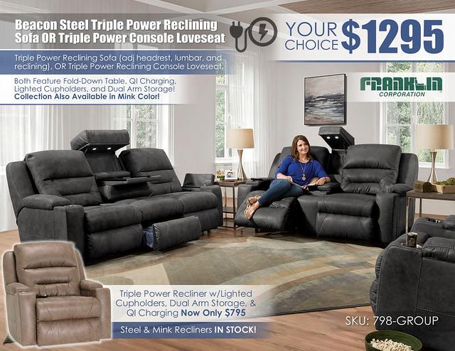 Beacon Steel Triple Power Reclining Sofa OR Loveseat Special_798_logo