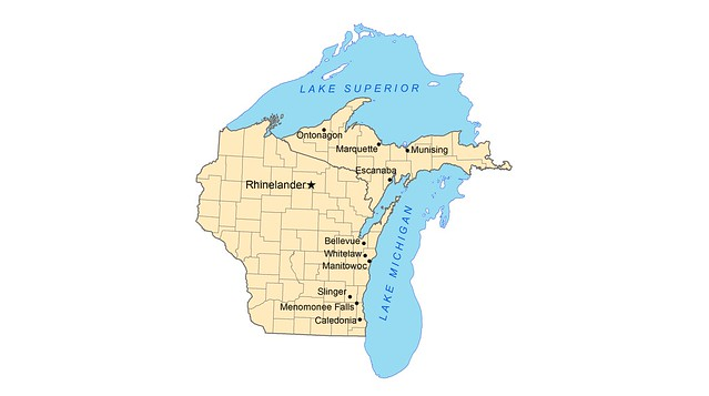 The Lake Michigan and Lake Superior watersheds map