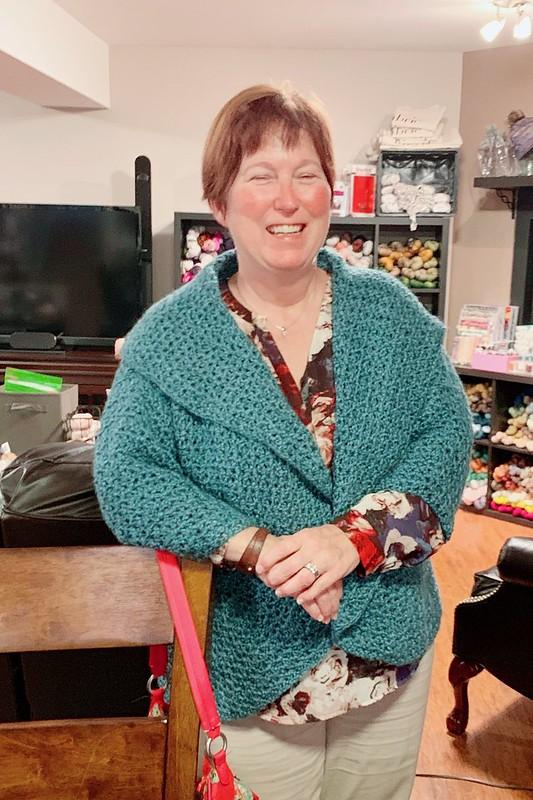 Nicole modeling Tamsin's crocheted jacket!